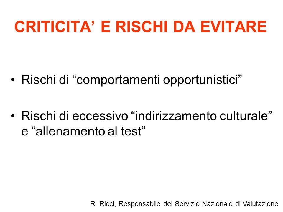 CRITICITA E RISCHI DA EVITARE Rischi di comportamenti opportunistici Rischi di eccessivo indirizzamento culturale e allenamento al test R. Ricci, Resp