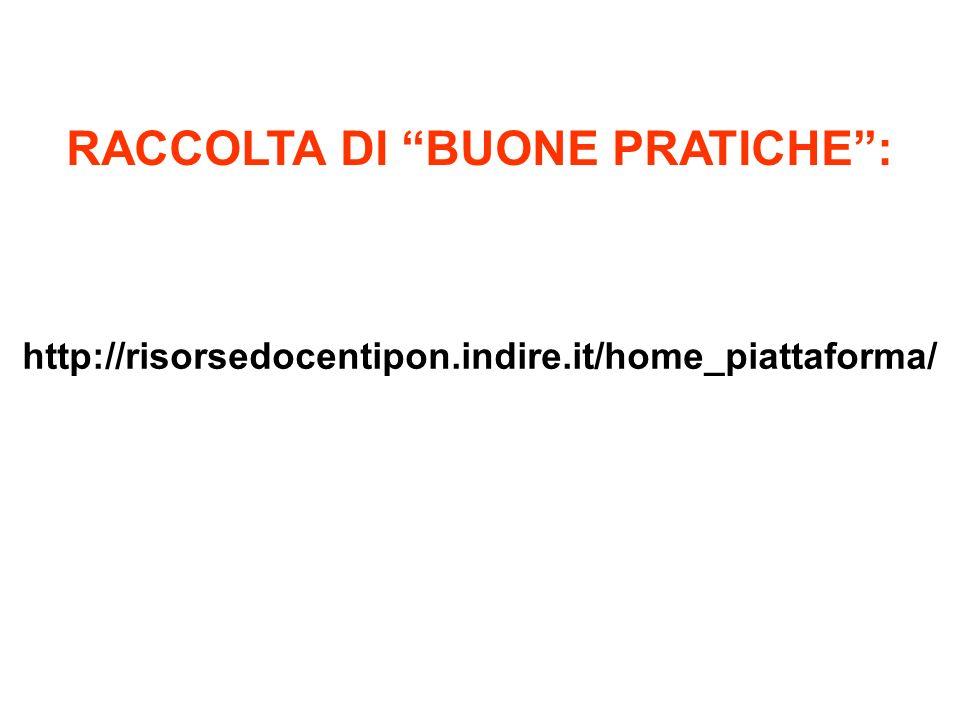 http://risorsedocentipon.indire.it/home_piattaforma/ RACCOLTA DI BUONE PRATICHE: