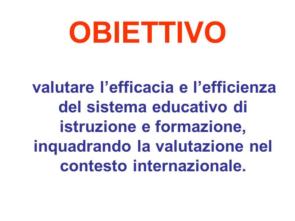 OBIETTIVO valutare lefficacia e lefficienza del sistema educativo di istruzione e formazione, inquadrando la valutazione nel contesto internazionale.