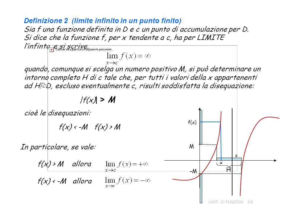 Definizione 2 (limite infinito in un punto finito) Sia f una funzione definita in D e c un punto di accumulazione per D. Si dice che la funzione f, pe