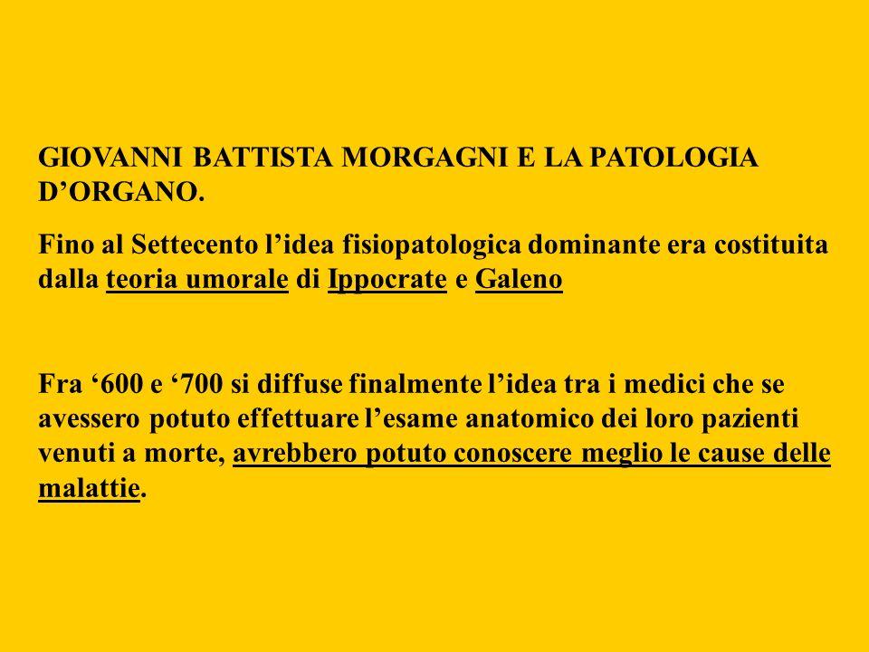 GIOVANNI BATTISTA MORGAGNI E LA PATOLOGIA DORGANO. Fino al Settecento lidea fisiopatologica dominante era costituita dalla teoria umorale di Ippocrate