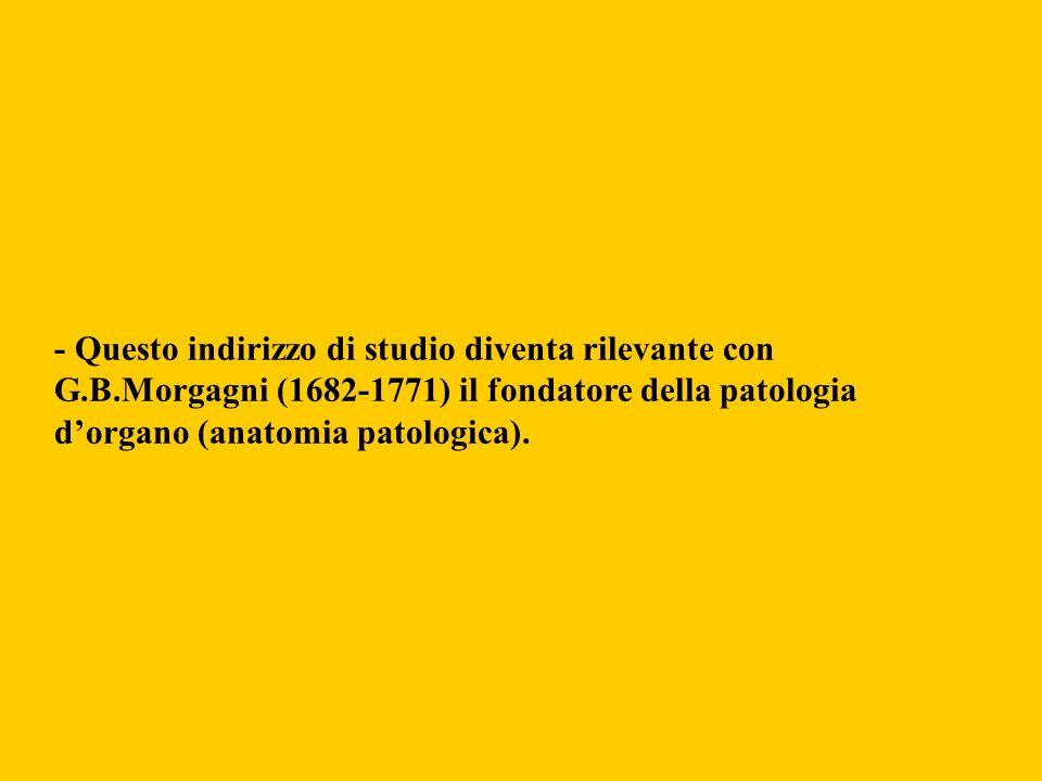 - Questo indirizzo di studio diventa rilevante con G.B.Morgagni (1682-1771) il fondatore della patologia dorgano (anatomia patologica).