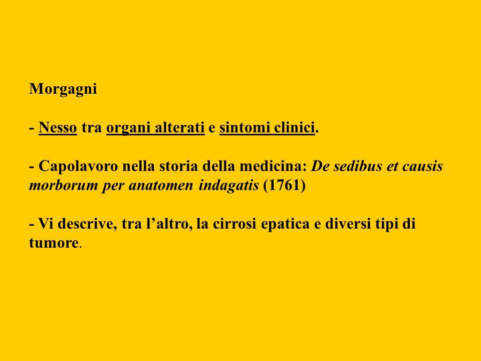 Morgagni - Nesso tra organi alterati e sintomi clinici. - Capolavoro nella storia della medicina: De sedibus et causis morborum per anatomen indagatis
