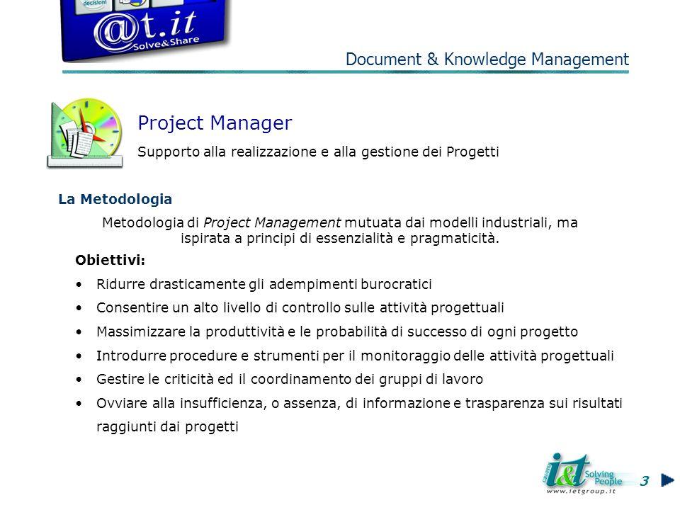 La Metodologia Project Manager Supporto alla realizzazione e alla gestione dei Progetti Metodologia di Project Management mutuata dai modelli industriali, ma ispirata a principi di essenzialità e pragmaticità.