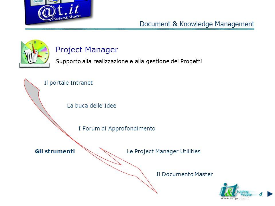 Gli strumenti Il portale Intranet Project Manager Supporto alla realizzazione e alla gestione dei Progetti La buca delle Idee I Forum di Approfondimento Le Project Manager Utilities Il Documento Master 4 Document & Knowledge Management
