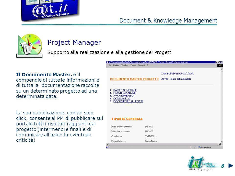 Project Manager Supporto alla realizzazione e alla gestione dei Progetti Il Documento Master, è il compendio di tutte le informazioni e di tutta la documentazione raccolte su un determinato progetto ad una determinata data.