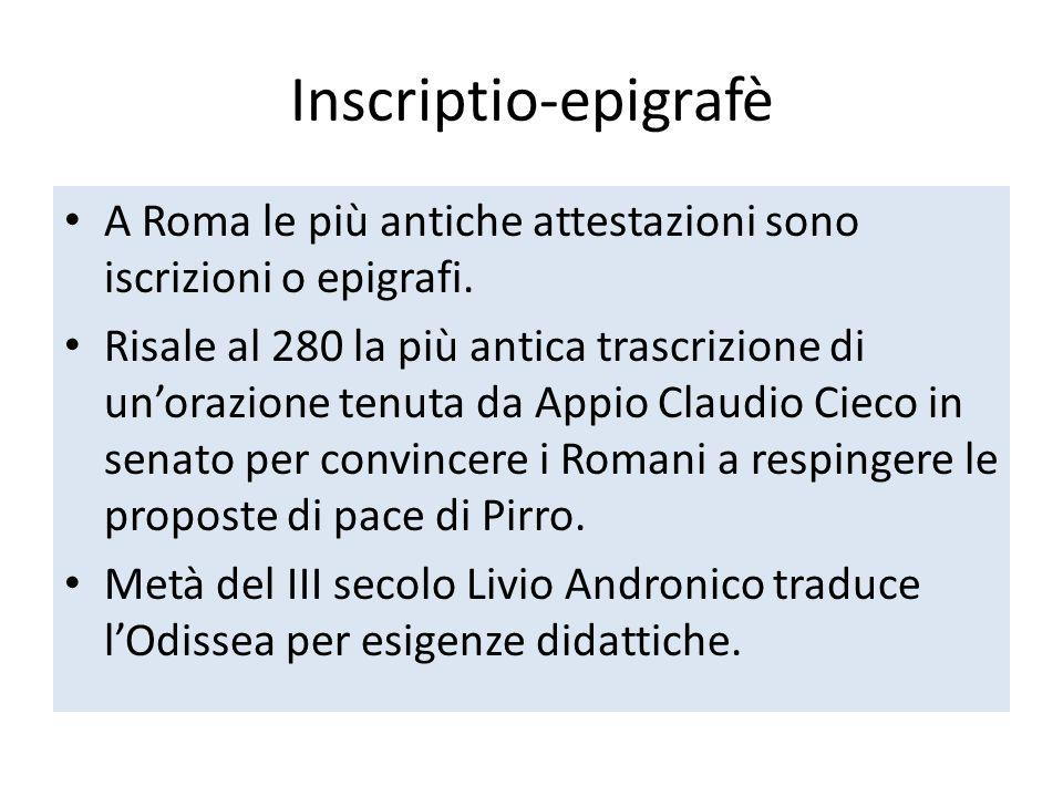 Inscriptio-epigrafè A Roma le più antiche attestazioni sono iscrizioni o epigrafi. Risale al 280 la più antica trascrizione di unorazione tenuta da Ap