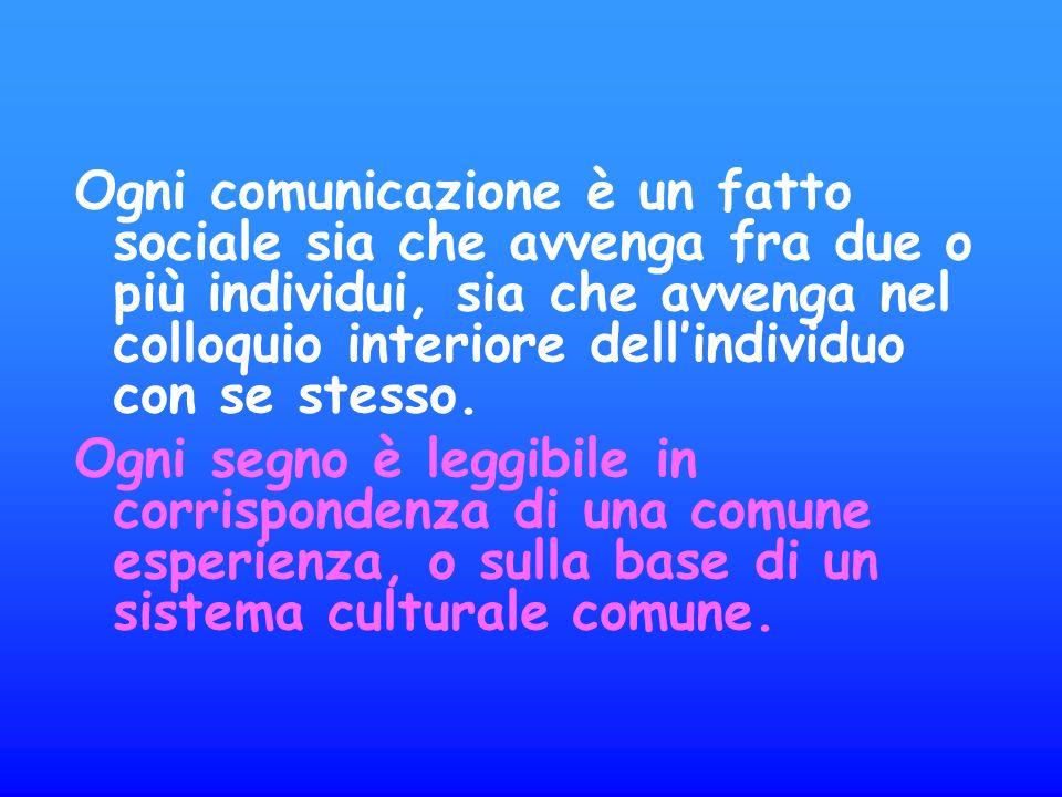 Ogni comunicazione è un fatto sociale sia che avvenga fra due o più individui, sia che avvenga nel colloquio interiore dellindividuo con se stesso.
