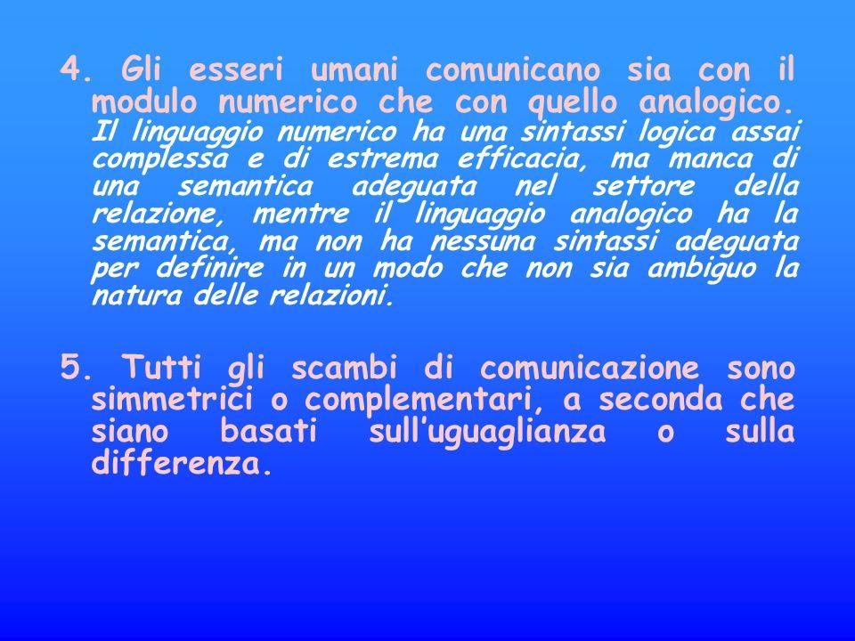 4.Gli esseri umani comunicano sia con il modulo numerico che con quello analogico.