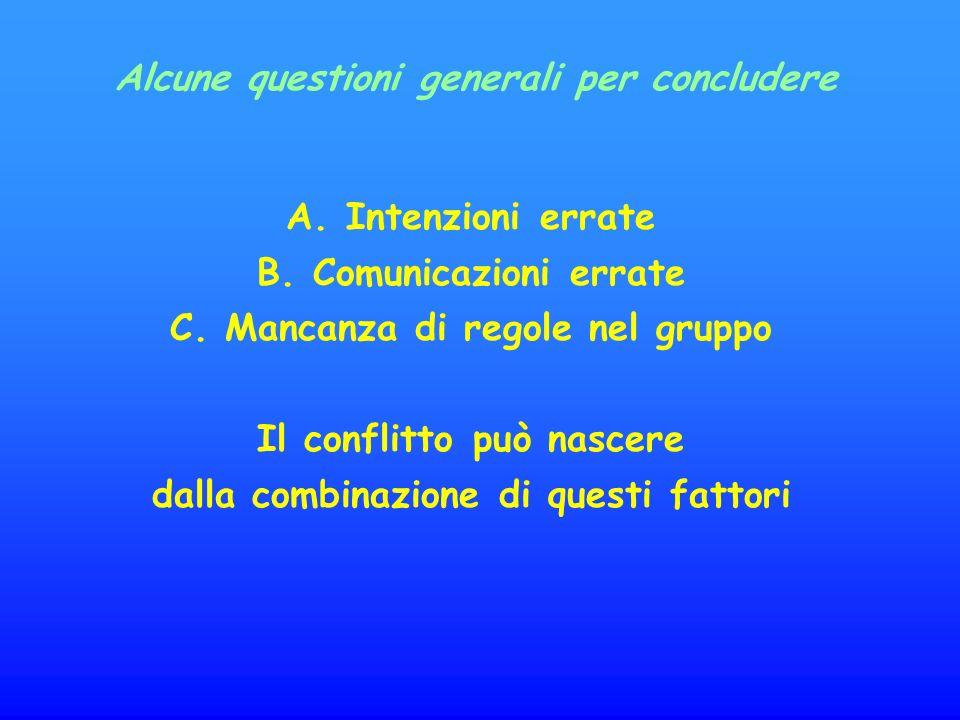 A.Intenzioni errate B. Comunicazioni errate C.