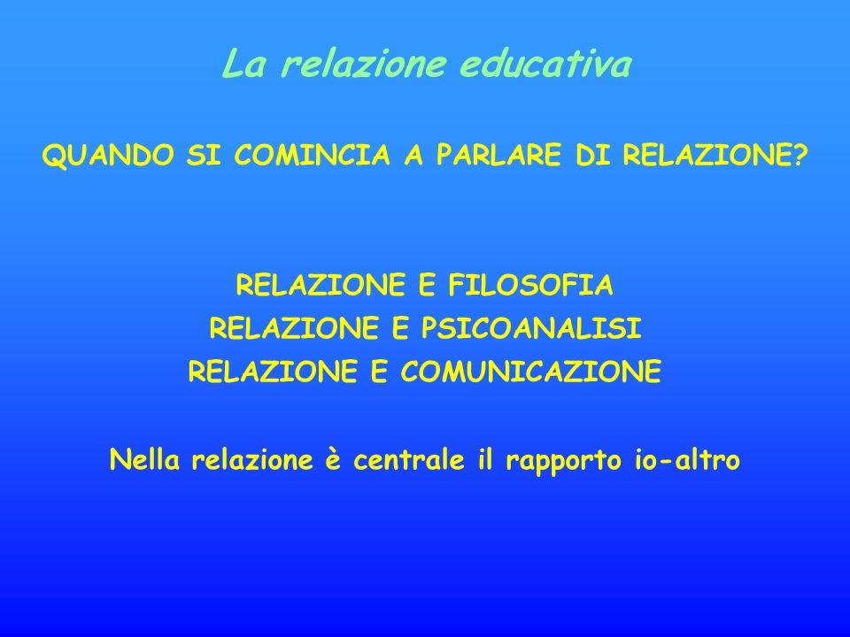 La relazione educativa QUANDO SI COMINCIA A PARLARE DI RELAZIONE.