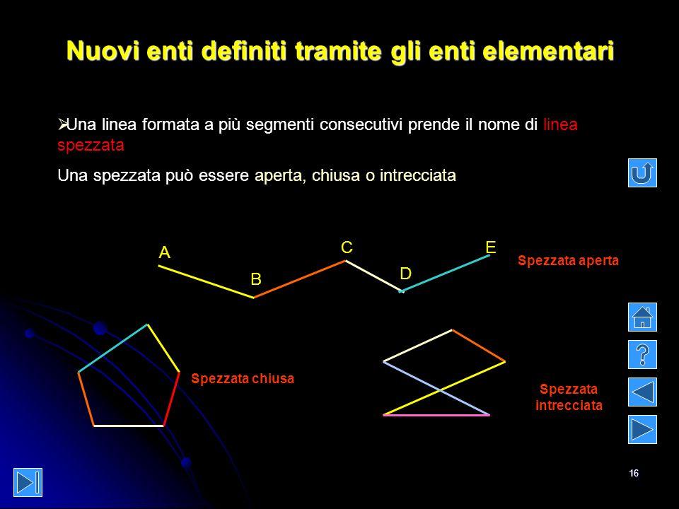 16 Nuovi enti definiti tramite gli enti elementari B A C Una linea formata a più segmenti consecutivi prende il nome di linea spezzata Una spezzata pu