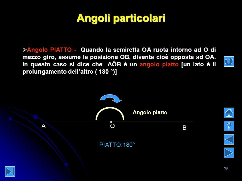 18 Angoli particolari Angolo PIATTO - Quando la semiretta OA ruota intorno ad O di mezzo giro, assume la posizione OB, diventa cioè opposta ad OA. In
