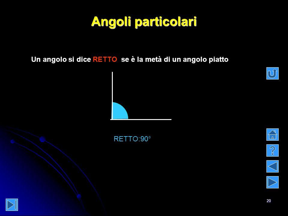 20 Angoli particolari Un angolo si dice RETTO se è la metà di un angolo piatto RETTO:90°