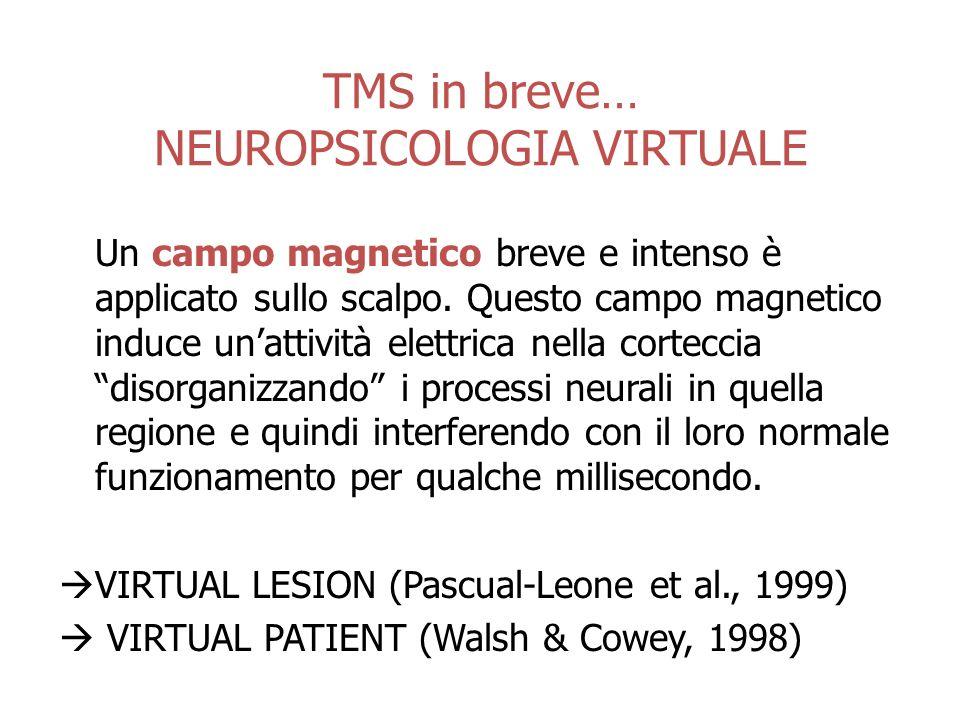 TMS in breve… NEUROPSICOLOGIA VIRTUALE Un campo magnetico breve e intenso è applicato sullo scalpo.