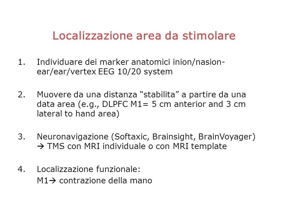 Localizzazione area da stimolare 1.Individuare dei marker anatomici inion/nasion- ear/ear/vertex EEG 10/20 system 2.Muovere da una distanza stabilita a partire da una data area (e.g., DLPFC M1= 5 cm anterior and 3 cm lateral to hand area) 3.Neuronavigazione (Softaxic, Brainsight, BrainVoyager) TMS con MRI individuale o con MRI template 4.Localizzazione funzionale: M1 contrazione della mano