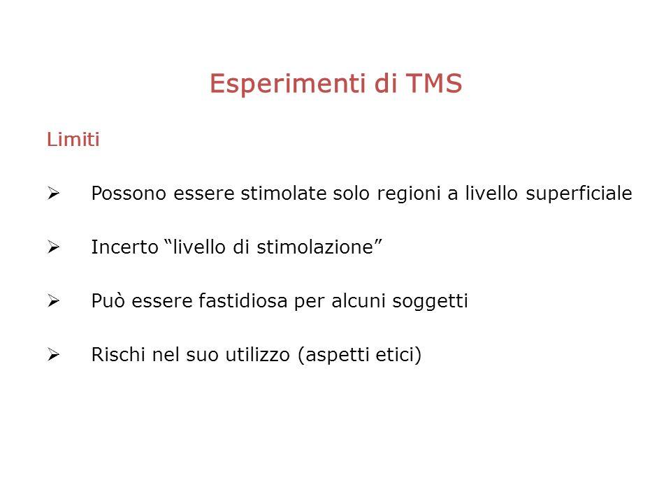 Esperimenti di TMS Limiti Possono essere stimolate solo regioni a livello superficiale Incerto livello di stimolazione Può essere fastidiosa per alcuni soggetti Rischi nel suo utilizzo (aspetti etici)