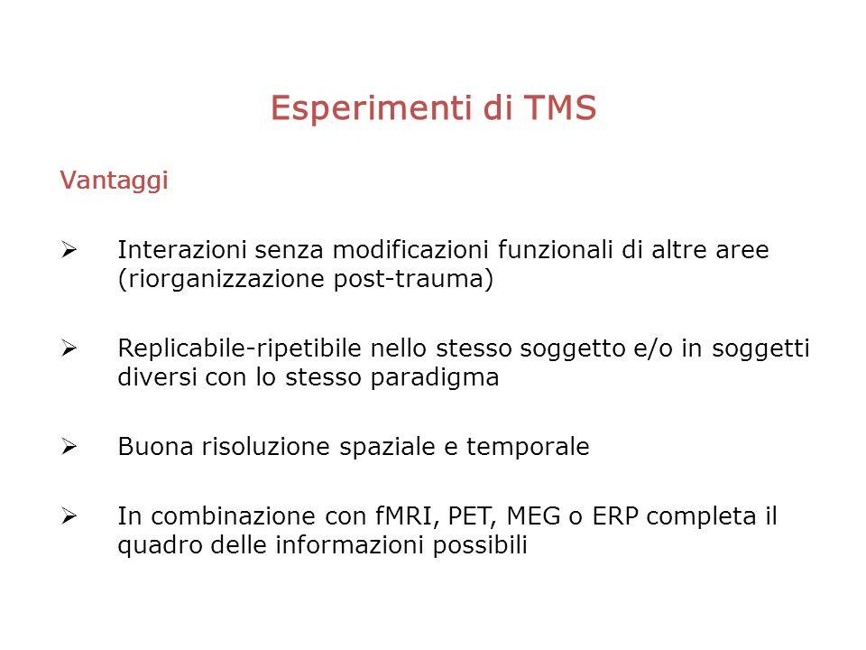 Esperimenti di TMS Vantaggi Interazioni senza modificazioni funzionali di altre aree (riorganizzazione post-trauma) Replicabile-ripetibile nello stesso soggetto e/o in soggetti diversi con lo stesso paradigma Buona risoluzione spaziale e temporale In combinazione con fMRI, PET, MEG o ERP completa il quadro delle informazioni possibili