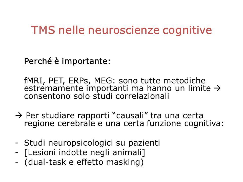 TMS nelle neuroscienze cognitive Perché è importante: fMRI, PET, ERPs, MEG: sono tutte metodiche estremamente importanti ma hanno un limite consentono solo studi correlazionali Per studiare rapporti causali tra una certa regione cerebrale e una certa funzione cognitiva: -Studi neuropsicologici su pazienti -[Lesioni indotte negli animali] - (dual-task e effetto masking)