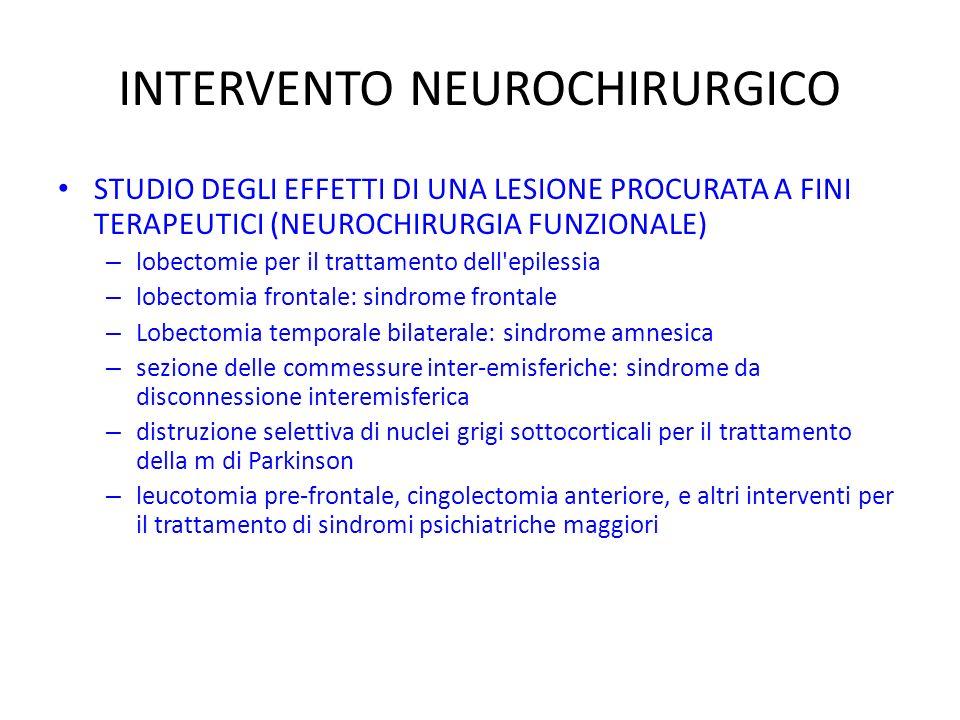 INTERVENTO NEUROCHIRURGICO STUDIO DEGLI EFFETTI DI UNA LESIONE PROCURATA A FINI TERAPEUTICI (NEUROCHIRURGIA FUNZIONALE) – lobectomie per il trattamento dell epilessia – lobectomia frontale: sindrome frontale – Lobectomia temporale bilaterale: sindrome amnesica – sezione delle commessure inter-emisferiche: sindrome da disconnessione interemisferica – distruzione selettiva di nuclei grigi sottocorticali per il trattamento della m di Parkinson – leucotomia pre-frontale, cingolectomia anteriore, e altri interventi per il trattamento di sindromi psichiatriche maggiori