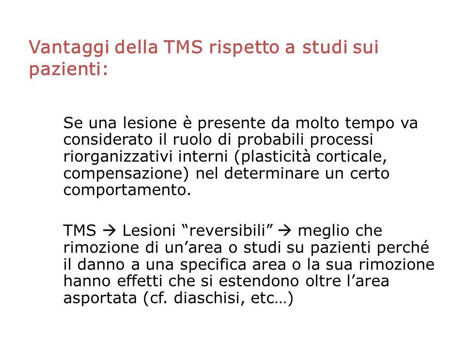 Vantaggi della TMS rispetto a studi sui pazienti: Se una lesione è presente da molto tempo va considerato il ruolo di probabili processi riorganizzativi interni (plasticità corticale, compensazione) nel determinare un certo comportamento.