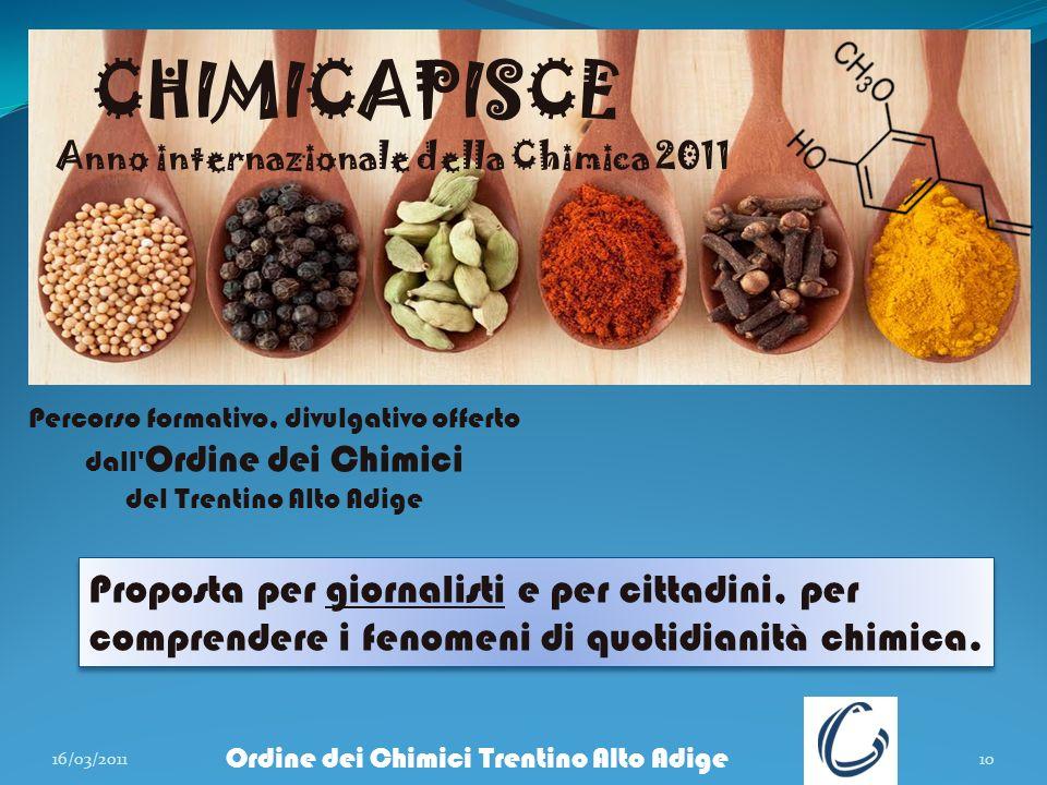 16/03/201110 Ordine dei Chimici Trentino Alto Adige CHIMICAPISCE Anno internazionale della Chimica 2011 Percorso formativo, divulgativo offerto dall'