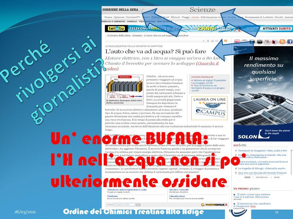 16/03/201111 Ordine dei Chimici Trentino Alto Adige Un enorme BUFALA: lH nellacqua non si po ulteriormente ossidare