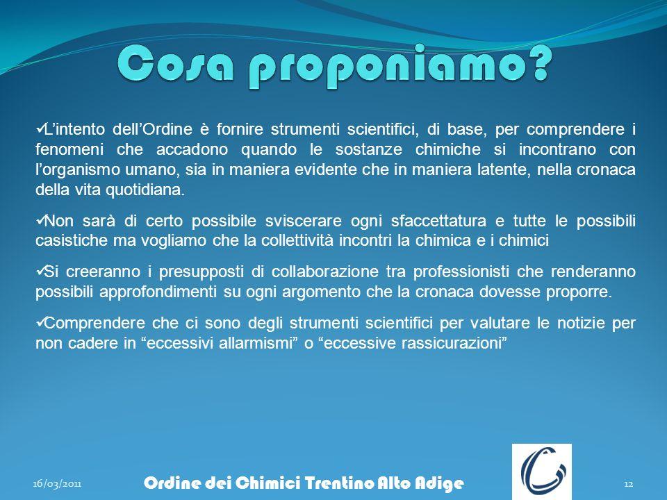 16/03/201112 Ordine dei Chimici Trentino Alto Adige Lintento dellOrdine è fornire strumenti scientifici, di base, per comprendere i fenomeni che accad