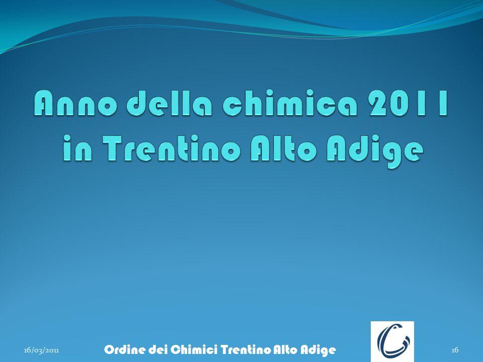 16/03/201116 Ordine dei Chimici Trentino Alto Adige
