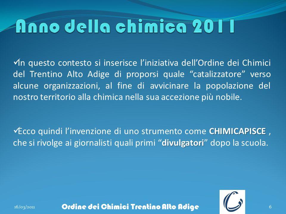 16/03/20116 Ordine dei Chimici Trentino Alto Adige In questo contesto si inserisce liniziativa dellOrdine dei Chimici del Trentino Alto Adige di propo