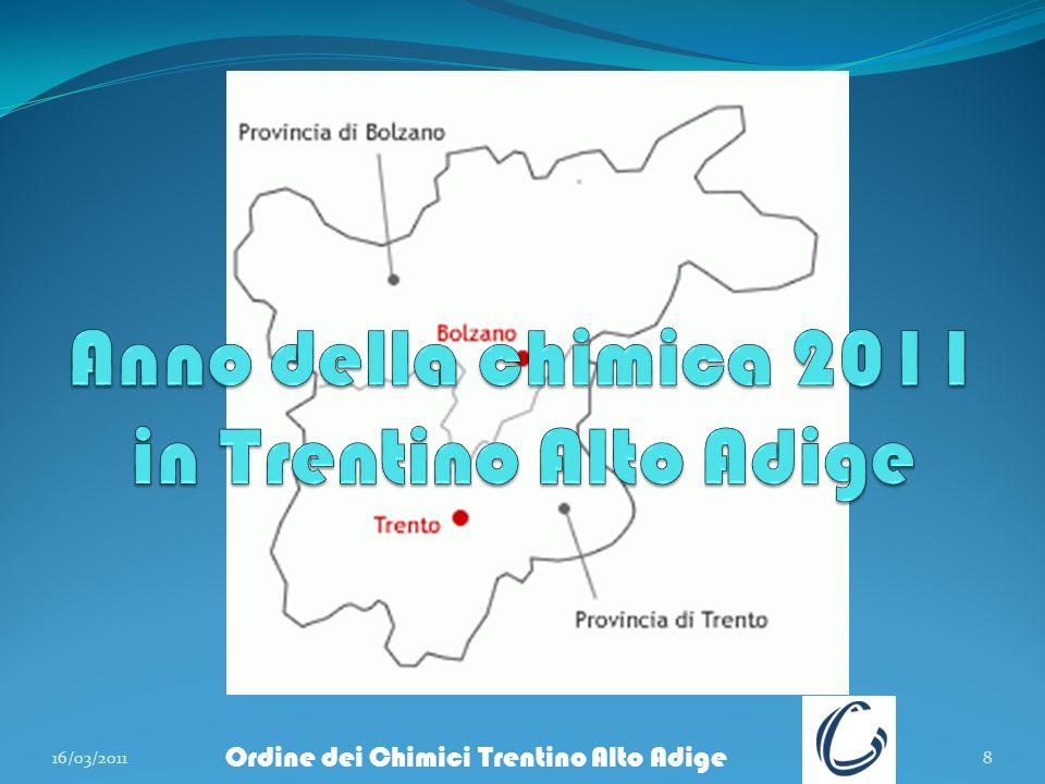 16/03/20118 Ordine dei Chimici Trentino Alto Adige