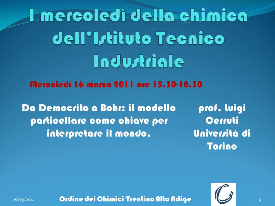 16/03/20119 Ordine dei Chimici Trentino Alto Adige Da Democrito a Bohr: il modello particellare come chiave per interpretare il mondo. prof. Luigi Cer