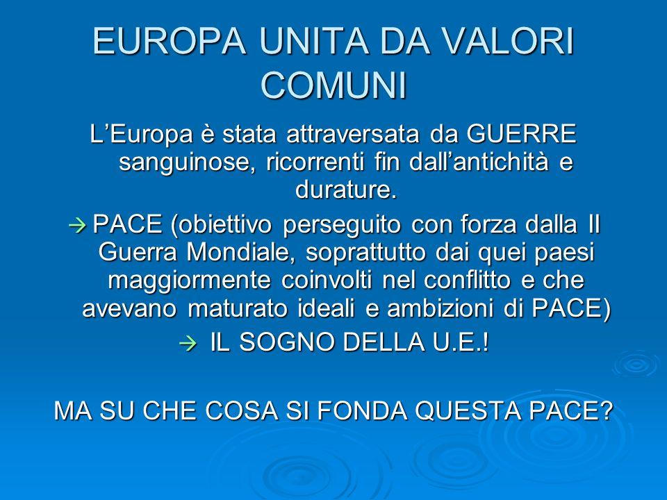 EUROPA UNITA DA VALORI COMUNI LEuropa è stata attraversata da GUERRE sanguinose, ricorrenti fin dallantichità e durature. PACE (obiettivo perseguito c
