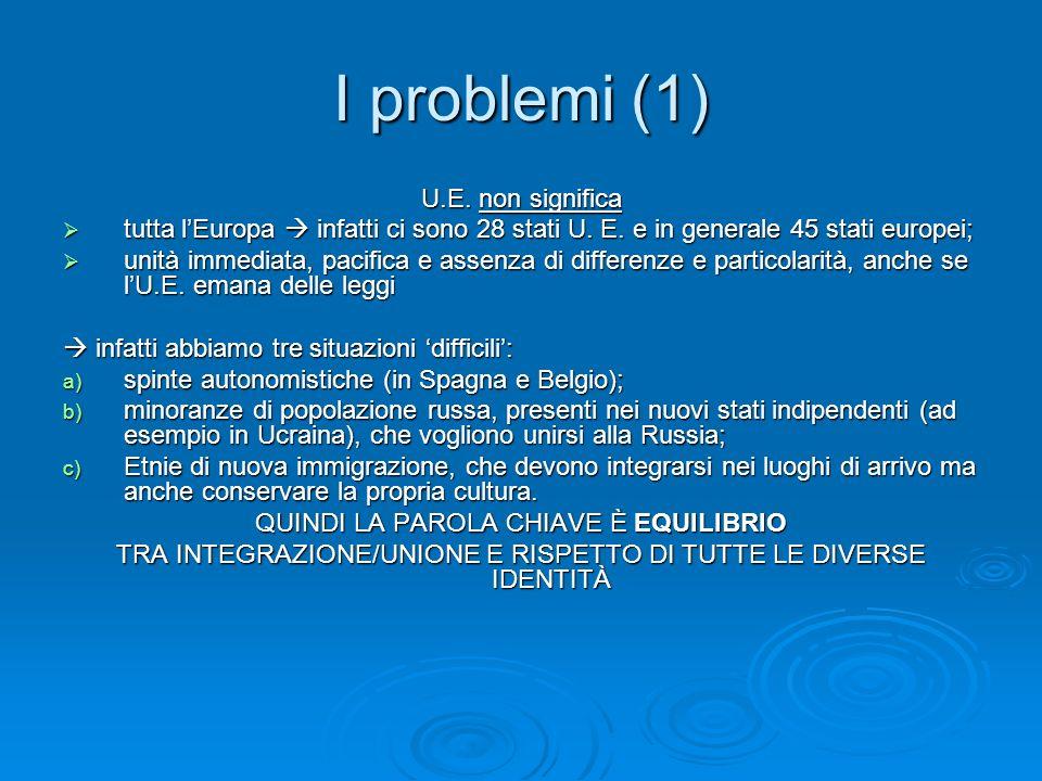 I problemi(2) LEuropa è la prima potenza commerciale a livello mondiale.