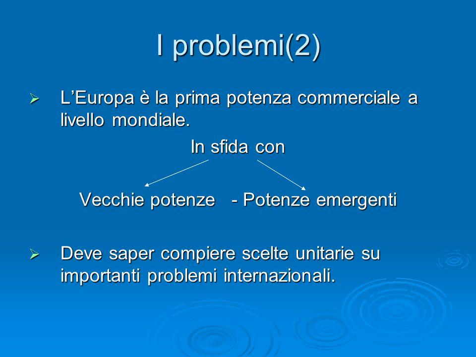 I problemi(2) LEuropa è la prima potenza commerciale a livello mondiale. LEuropa è la prima potenza commerciale a livello mondiale. In sfida con Vecch