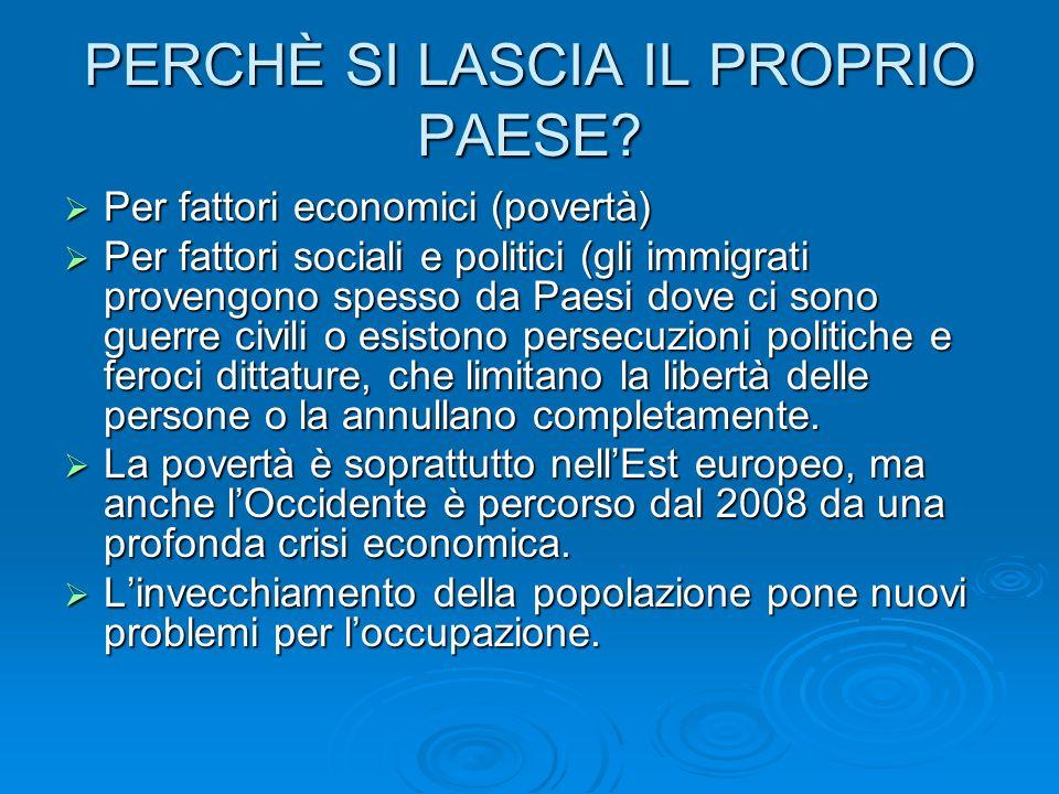 PERCHÈ SI LASCIA IL PROPRIO PAESE? Per fattori economici (povertà) Per fattori economici (povertà) Per fattori sociali e politici (gli immigrati prove