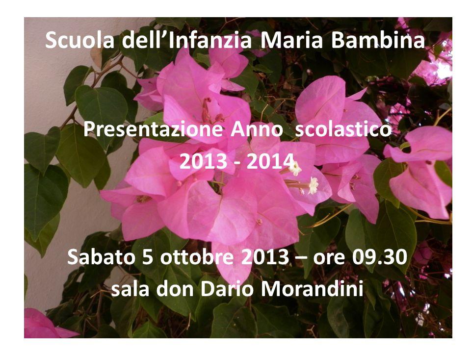 Scuola dellInfanzia Maria Bambina Presentazione Anno scolastico 2013 - 2014 Sabato 5 ottobre 2013 – ore 09.30 sala don Dario Morandini