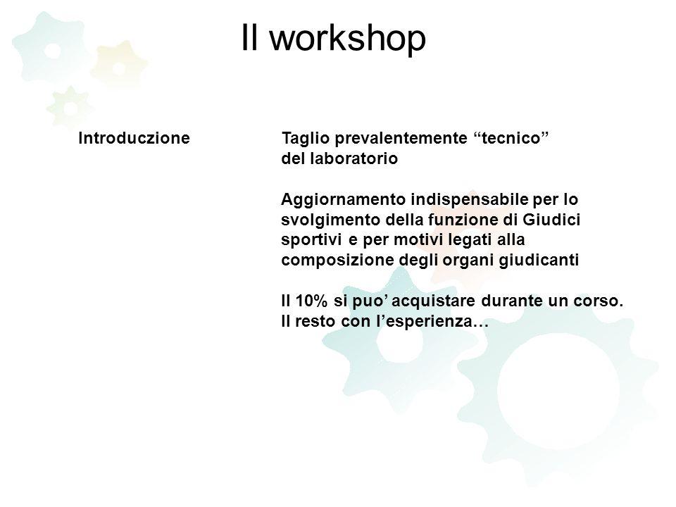 Il workshop IntroduczioneTaglio prevalentemente tecnico del laboratorio Aggiornamento indispensabile per lo svolgimento della funzione di Giudici spor