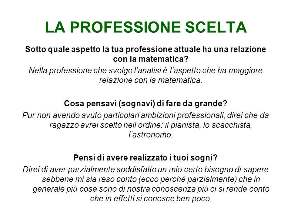 LA PROFESSIONE SCELTA Sotto quale aspetto la tua professione attuale ha una relazione con la matematica.