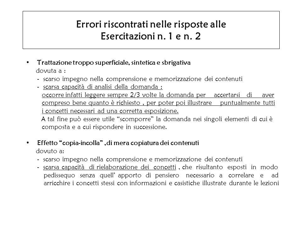 Errori riscontrati nelle risposte alle Esercitazioni n. 1 e n. 2 Trattazione troppo superficiale, sintetica e sbrigativa dovuta a : - scarso impegno n