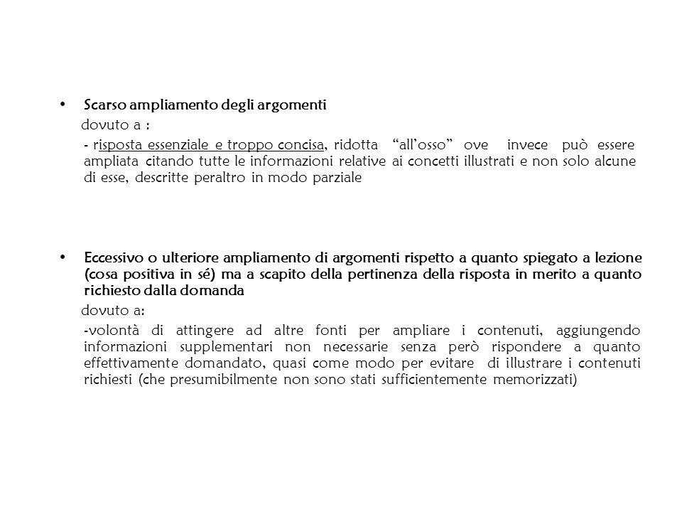 Scarso ampliamento degli argomenti dovuto a : - risposta essenziale e troppo concisa, ridotta allosso ove invece può essere ampliata citando tutte le