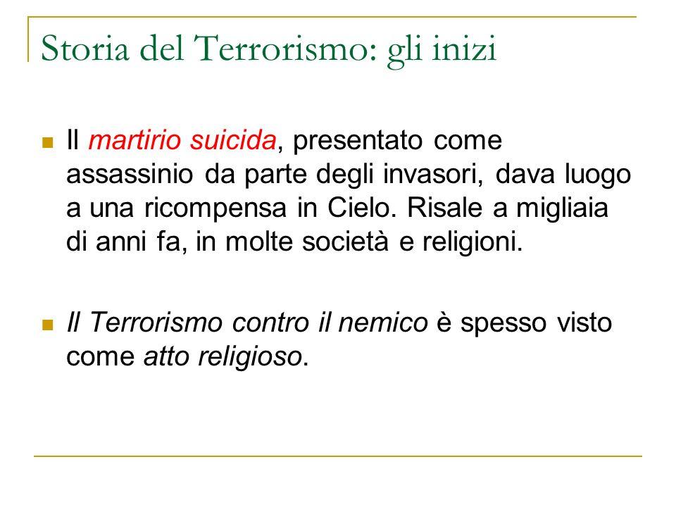 Storia del Terrorismo: gli inizi Il martirio suicida, presentato come assassinio da parte degli invasori, dava luogo a una ricompensa in Cielo.
