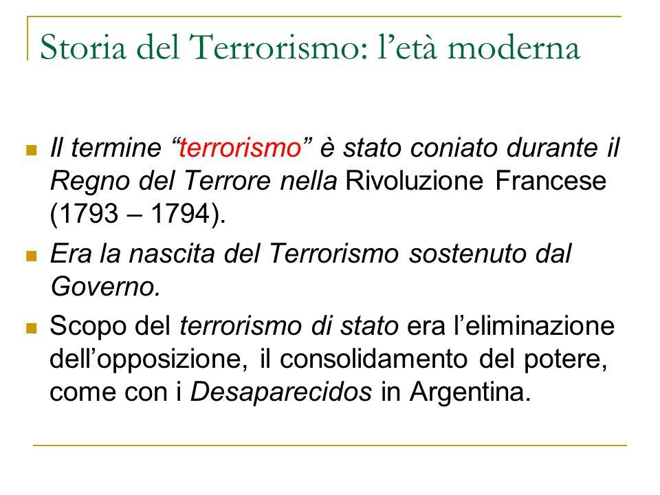 Storia del Terrorismo: letà moderna Il termine terrorismo è stato coniato durante il Regno del Terrore nella Rivoluzione Francese (1793 – 1794).