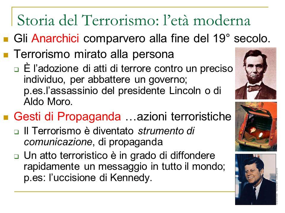 Storia del Terrorismo: letà moderna Gli Anarchici comparvero alla fine del 19° secolo.