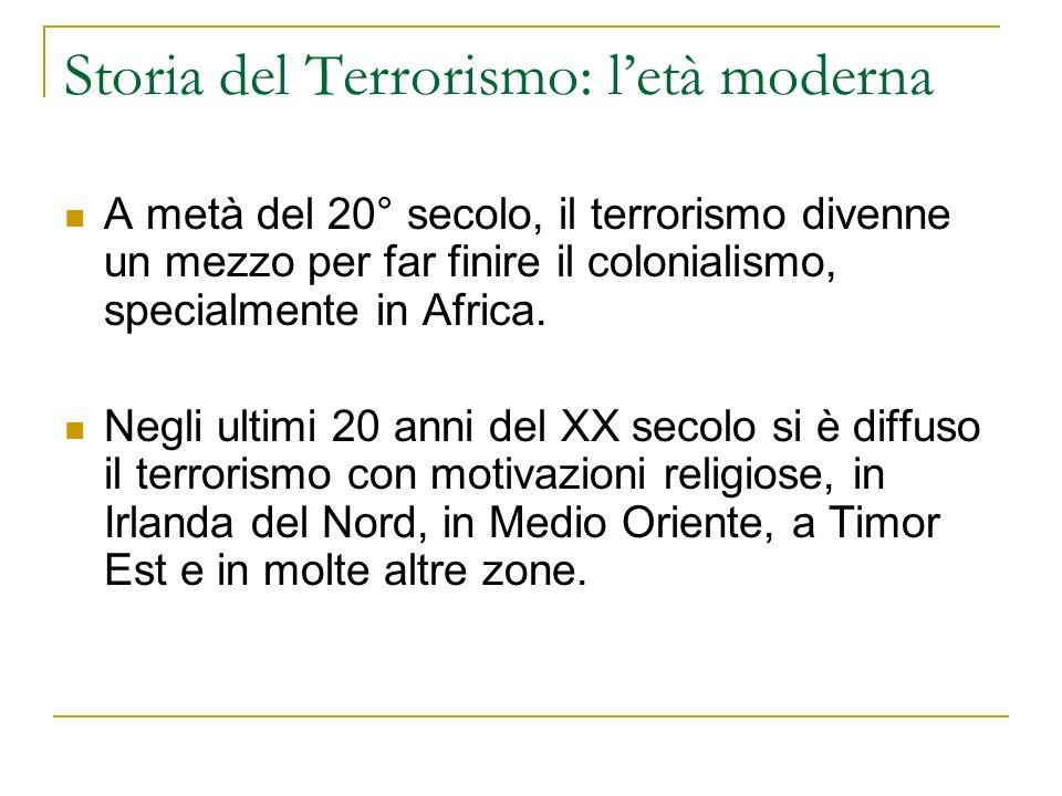 Storia del Terrorismo: letà moderna A metà del 20° secolo, il terrorismo divenne un mezzo per far finire il colonialismo, specialmente in Africa.