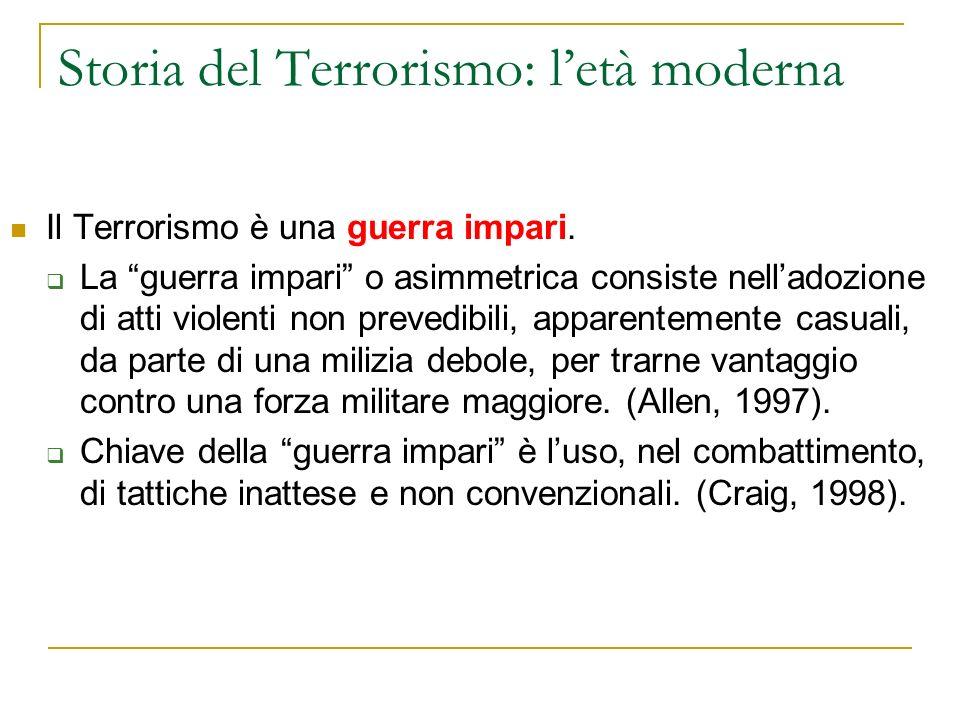 Storia del Terrorismo: letà moderna Il Terrorismo è una guerra impari.