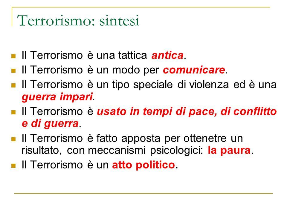 Terrorismo: sintesi Il Terrorismo è una tattica antica.