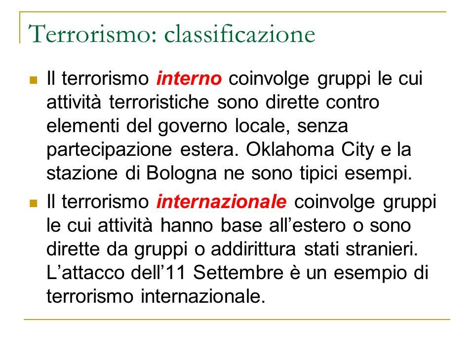 Terrorismo: classificazione Il terrorismo interno coinvolge gruppi le cui attività terroristiche sono dirette contro elementi del governo locale, senza partecipazione estera.
