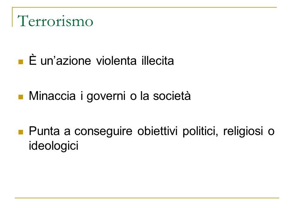 Terrorismo È unazione violenta illecita Minaccia i governi o la società Punta a conseguire obiettivi politici, religiosi o ideologici