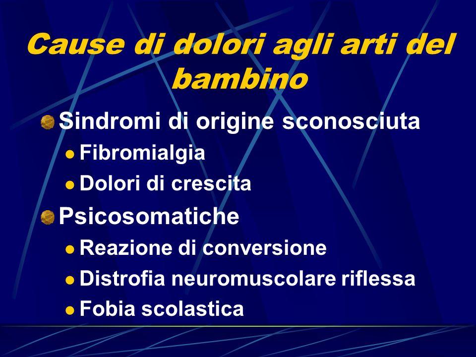 Cause di dolori agli arti del bambino Sindromi di origine sconosciuta Fibromialgia Dolori di crescita Psicosomatiche Reazione di conversione Distrofia